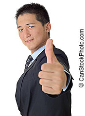 Handsome business man portrait of Asian with thumb up.