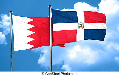 Bahrain flag with Dominican Republic flag, 3D rendering