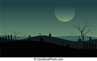 Halloween Tomb with foggy at the night