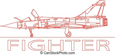 Fighter plane. - A detailed side view of a fighter plane.