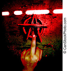 Anarchy Symbol and Middle Finger - Screw off with anarchy...