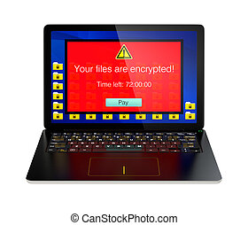 Laptop PC control by ransomware - Screen of laptop computer...