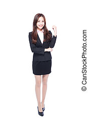 business woman makes a fist - business woman stands in full...