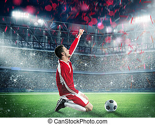 Win a football game - Soccer player exults on a stadium...