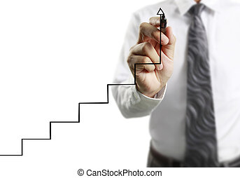 crescente, uomo affari, disegno, grafico