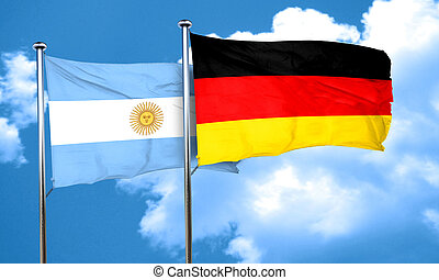 Argentina flag with Germany flag, 3D rendering