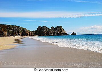 Porthcurno beach, Cornwall, England