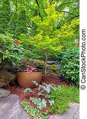 Garden with Gold Container Pot in Landscaped Yard - Garden...