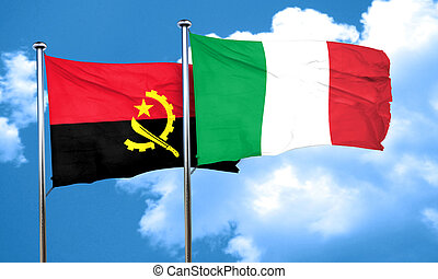 Angola flag with Italy flag, 3D rendering