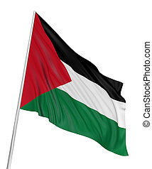 3D Palestinian flag with fabric surface texture White...