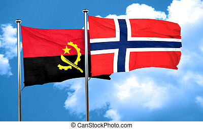 Angola flag with Norway flag, 3D rendering