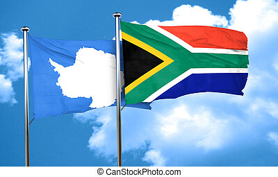 antarctica flag with South Africa flag, 3D rendering