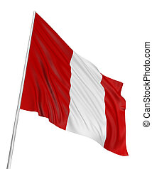 3D Peruvian flag with fabric surface texture White...