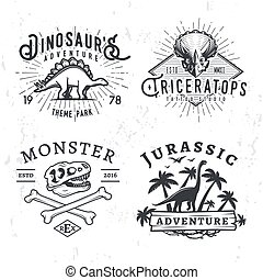 Set of Dino Logos. T-rex skull t-shirt illustration concept...