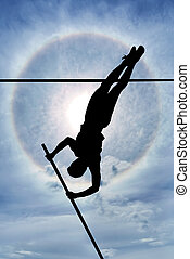 Risk taking and challenge Concept - Long flexible pole held...