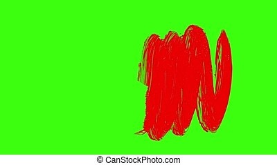 Brush Paint Red Color. Brush Paint Over Green Background...
