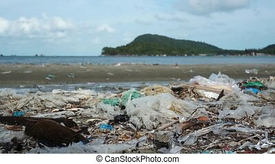 Pollution on beach tropical island - Pollution on beach of...
