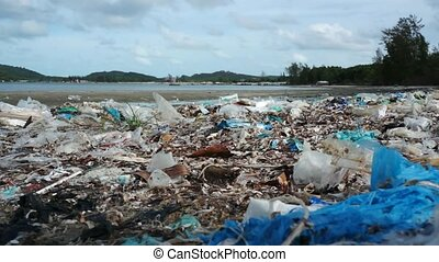 Pollution on the tropical beach - Pollution on the beach of...