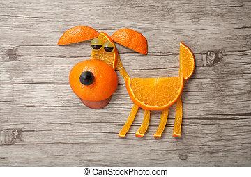 divertido, perro, hecho, de, naranja, en, de madera,...