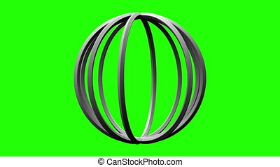 White Circle Abstract On Green Chroma Key. Loop able 3DCG...