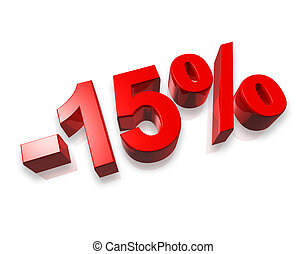 15 fifteen percent - fifteen percent 3D number isolated on...
