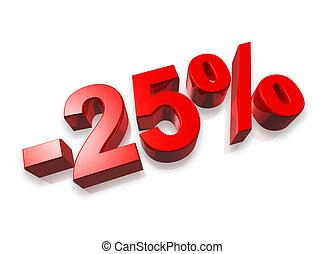 25% twenty five percent - twenty five percent 3D number...