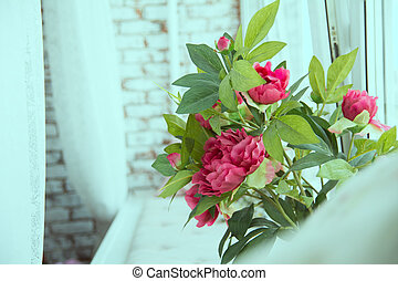 Red flowers on the window sill