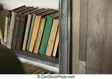 viejo, Libros, en, Un, estante, cierre, Arriba, posición