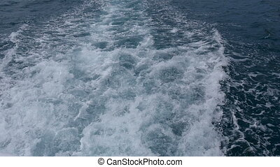 Sea wave from a fast ship - The wake of the fast ship, Black...