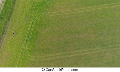 Flying Really Fast over a corn field at sunset.