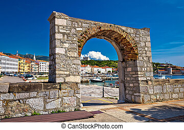 Historic town of Senj arch gate and waterfront view,...