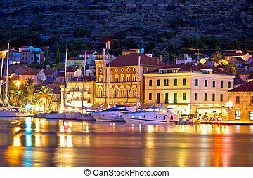 Yachting destination of Vis island evening view, Dalmatia,...