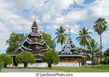 Burmese Shan style wooden temple in Thailand - Wat Hua...