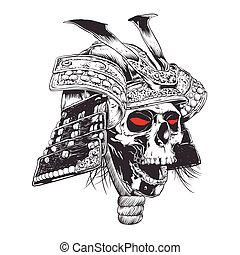 black and white samurai helmet with skull.vector...