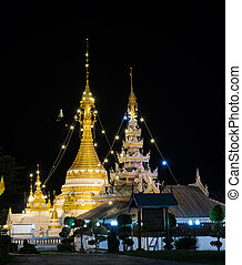 Burmese style temple in Mae Hong Son, Thailand - Night view...