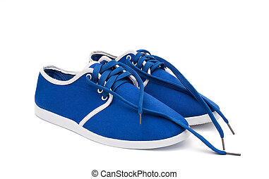 blue sports shoes on a white background