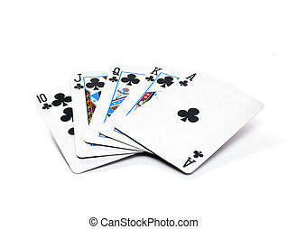 ROYAL FLUSH - A hand of playing cards of the suit clubs, on...