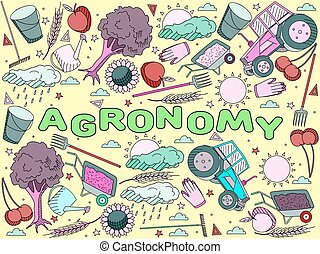 Agronomy vector illustration - Vector line art Doodle set of...