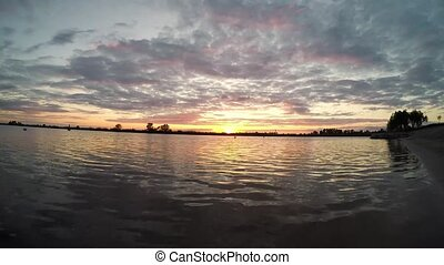 sunset on the lake, time-lapse