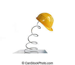jumping spring hard hat 3d Illustrations on a white...