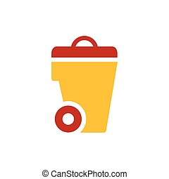 bin icon  design yellow and red color