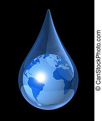 earth water drop - blue world globe map in a water drop. 3D...