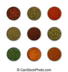 Colorful spices and herbs for cooking