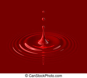drop of red blood and ripple - drop of red blood splashing...
