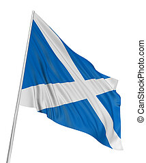 3D Scottish flag with fabric surface texture. White...