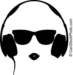 Vector silhouette of colored girl with headphones - Vector...