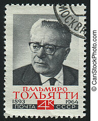 postmark - RUSSIA - CIRCA 1964: stamp printed by Russia,...