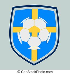 Swedish soccer label - Swedish flag with a soccer ball