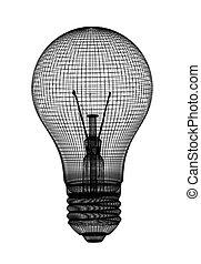 light bulb. Black grid. 3d illustration over white backgrounds.