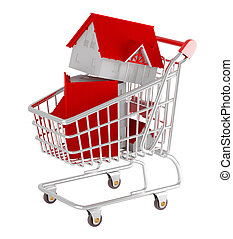 Shopping cart. 3d illustration over white backgrounds. Model...